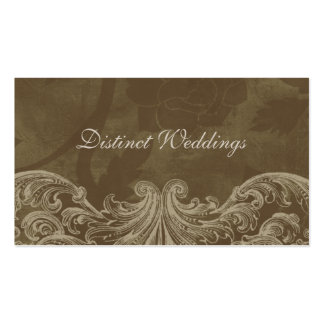 Business Card Antique Roses Wedding Planner Brown