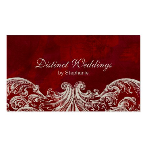 Business Card Antique Roses Wedding Planner Red