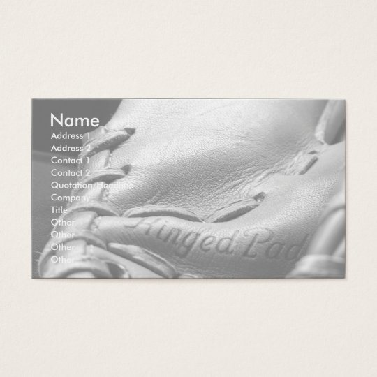 business card baseball glove