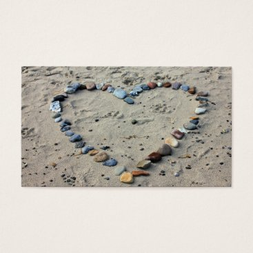 Beach Themed Business Card - Beach Theme with Stone Heart