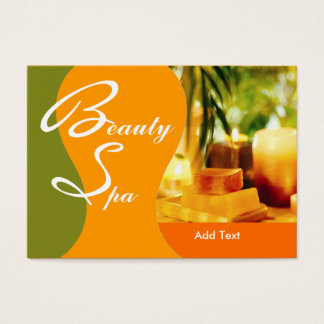 Business Card Beauty Health Spa Salon Green Yellow