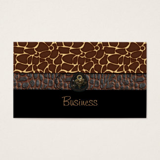 Business Card Black Animal Leather Brown Belt