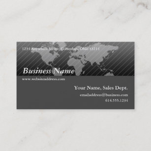 Contemporary world map business cards templates zazzle business card black grey world map design 2 gumiabroncs Choice Image