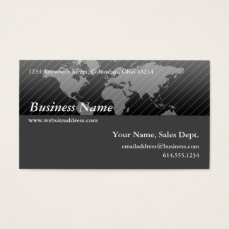 Business Card :: Black & Grey World Map Design 2