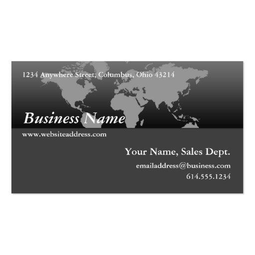 Business Card :: Black & Grey World Map Design 4