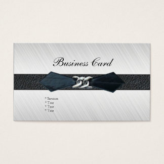 Business Card Black Leather Belt Buckle