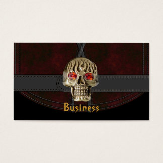 Business Card Black Leather Red Brown Belt Skull