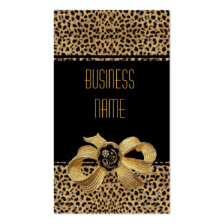 Business Card Black Leopard Animal Gold Bow Jewel