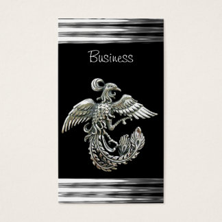 Business Card Black Silver Phoenix Bird  Jewel