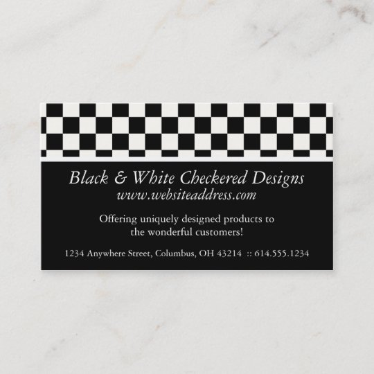 Business Card Black White Checkered Design Zazzlecom