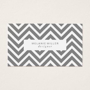 Professional Business Business Card - Black & White Chevron