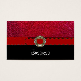 Business Card Black White Leather Red Belt Jewel