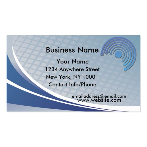 business card blue half circle