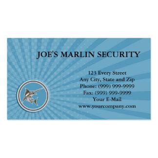 Business card Blue Marlin Fish Jumping Circle Retr