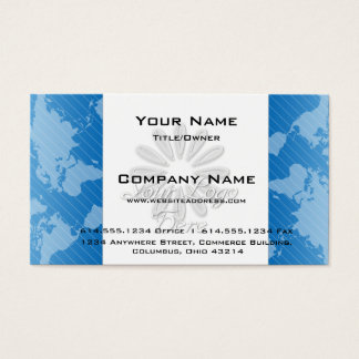 Business Card :: Blue World Map w/Logo Design 2
