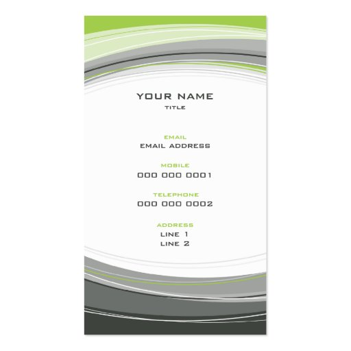 BUSINESS CARD bold modern curve grey lime green (back side)