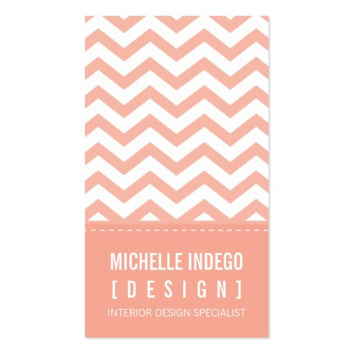 BUSINESS CARD bold trendy chevron stripes apricot