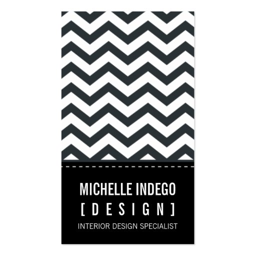 BUSINESS CARD bold trendy chevron stripes black (front side)