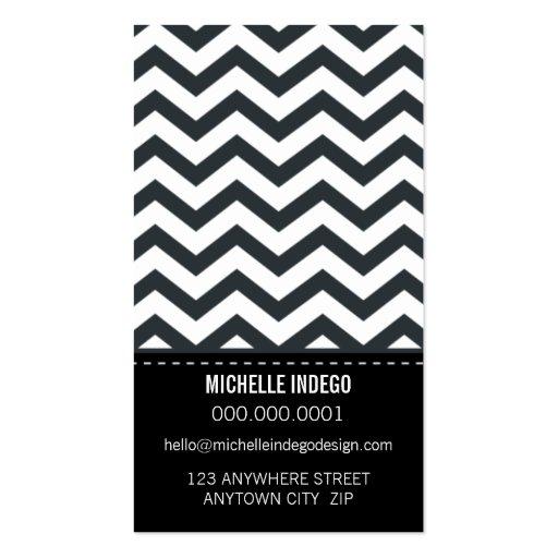 BUSINESS CARD bold trendy chevron stripes black (back side)