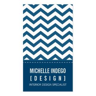 BUSINESS CARD bold trendy chevron stripes blue