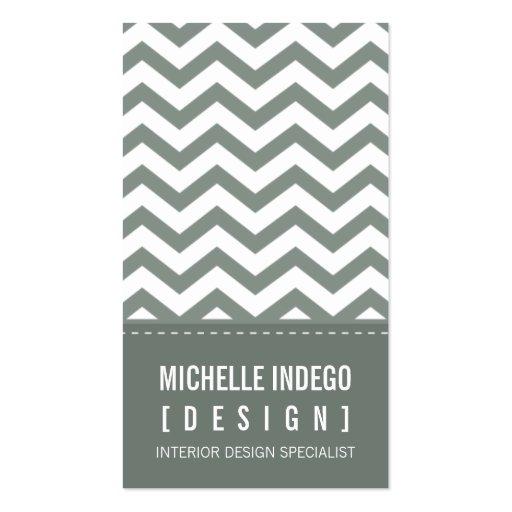 BUSINESS CARD bold trendy chevron stripes grey