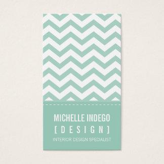 BUSINESS CARD bold trendy chevron stripes mint