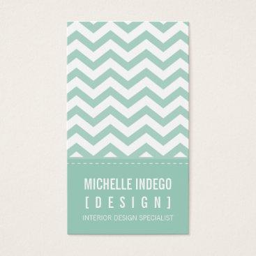 Professional Business BUSINESS CARD bold trendy chevron stripes mint