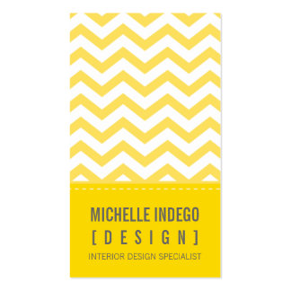 BUSINESS CARD bold trendy chevron stripes yellow