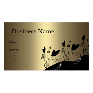 Business Card Bronze & Black Floral Abstract Business Card Templates