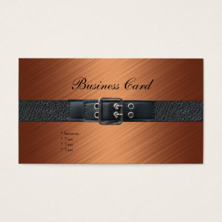 Business Card Bronze Black Leather Belt Buckle