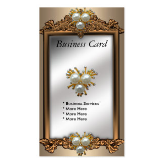 Business Card Bronze Gold Pearl Jewel Antique
