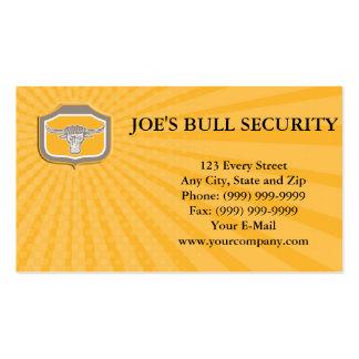 Business card Bull Head Snorting Shield Retro