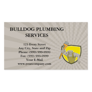 Business card Bulldog Plumber Monkey Wrench Shield