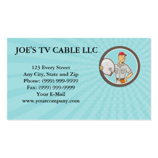 Business card Cable TV Installer Guy Cartoon