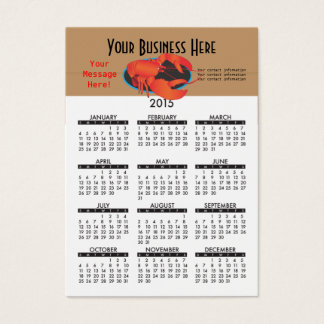 Business Card Calendar Seafood Restaurant