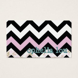 Business Card Chevron - Pink/flower
