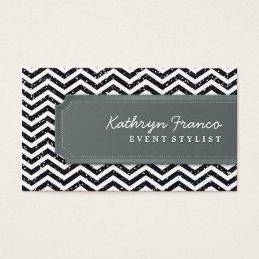 Professional Business BUSINESS CARD chevron stripe black glitter effect