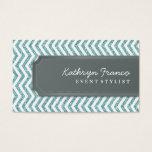 BUSINESS CARD chevron stripe blue glitter effect