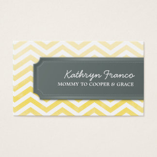 BUSINESS CARD chevron stripe yellow watercolor