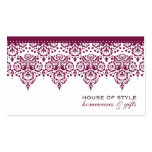 BUSINESS CARD classy damask maroon mulberry white