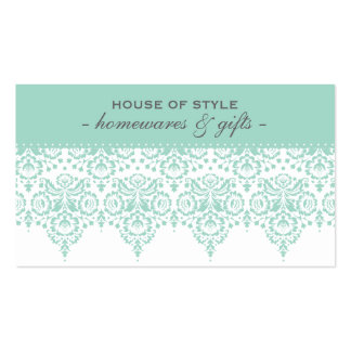 BUSINESS CARD classy damask mint green grey