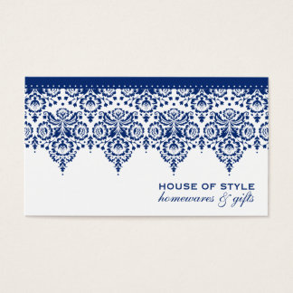 BUSINESS CARD classy damask royal navy blue white