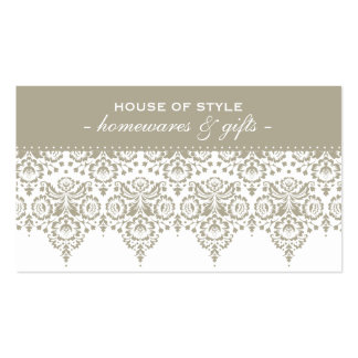 BUSINESS CARD classy damask stone taupe brown