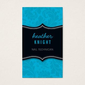 BUSINESS CARD classy flourish black turquoise