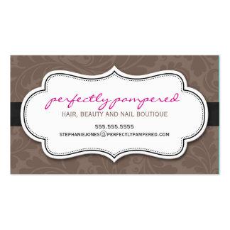 BUSINESS CARD classy flourish chocolate pink black