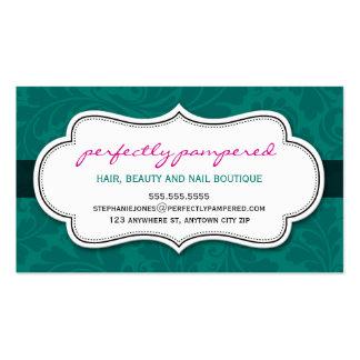 BUSINESS CARD classy flourish emerald pink black