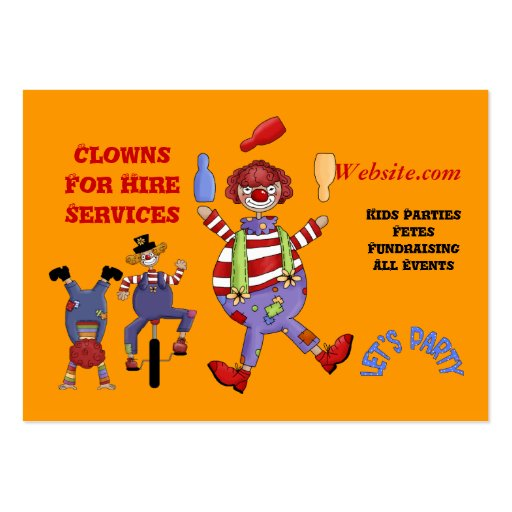 Business Card Clown for Hire Party Kids