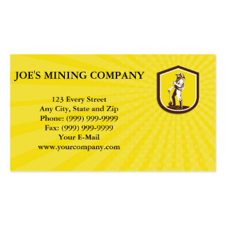 Business card Coal Miner Carry Pick Axe Shoulder R