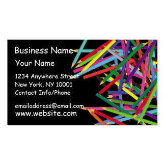 Business Card Colored Pencils Dark