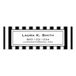 Business Card, Contemporary Black and White Stripe Double-Sided Mini Business Cards (Pack Of 20)